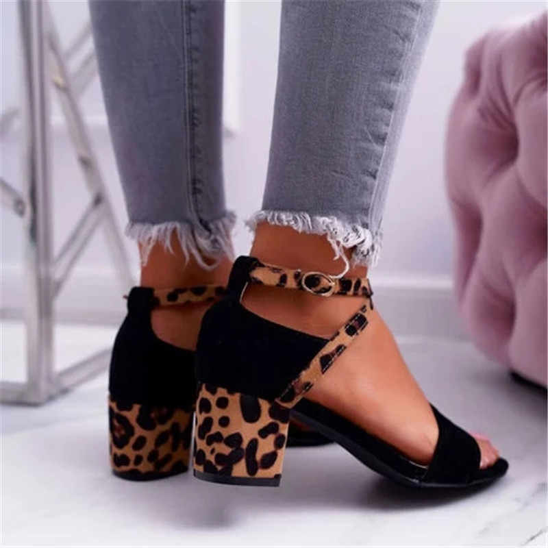 Thời Trang Nữ Giày Sandal Cao Gót Da Báo Cao Gót Giày Người Phụ Nữ Mắt Cá Dây Khóa Sandalia Feminina RD402929