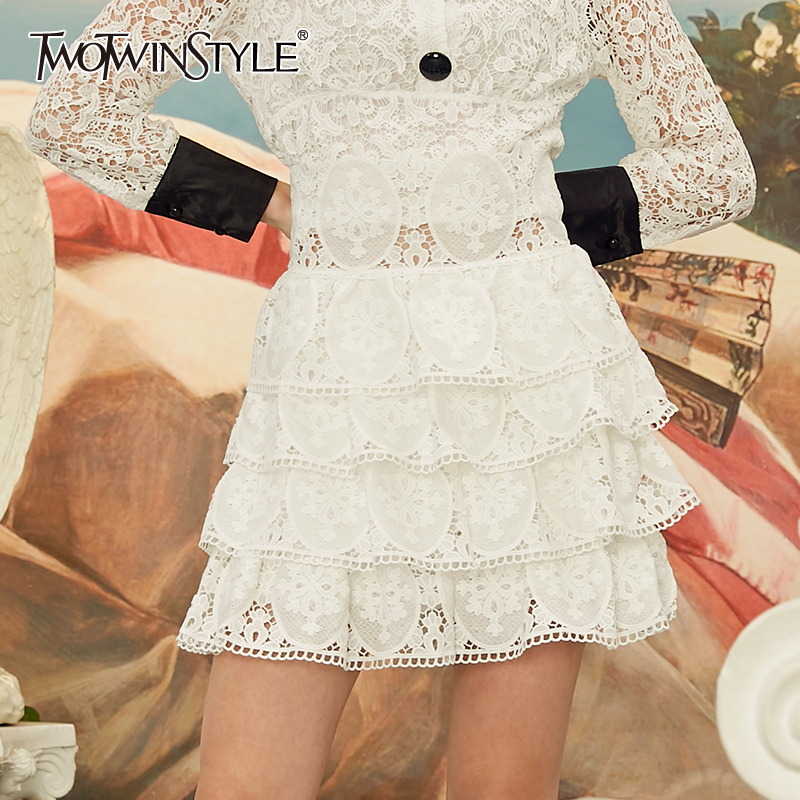 TWOTWINSTYLE Casual Embroidery Women's Skirts High Waist Hollow Out Ruffles Lace Skirt For Female Fashion 2020 Spring Clothing
