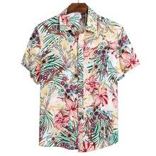 Plus rozmiar letni mężczyzna z krótkim rękawem hawajskie koszule bawełniane na co dzień z kwiatowym koszule fala regularne męskie koszule plażowe Camisa tanie tanio Dihope Poliester COTTON Skręcić w dół kołnierz Pojedyncze piersi men shirt Suknem Drukuj China Stocks USA Stocks No Invoices No Promotions