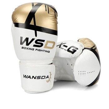 Guantes De boxeo De alta calidad para adultos y mujeres, guantes De boxeo De cuero MMA Muay Thai, guantes De Luva, equipamiento Sanda 8 10 12 6OZ