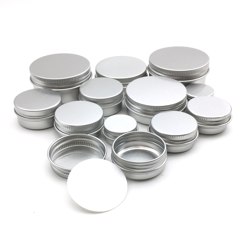 50pcs 5g 10g 15g 20g 30g 50g 60g Aluminum  Jar Metal Containers Lip Balm Container Empty Candle Jars Cream Pot Box