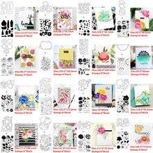 Matrices de découpe en métal avec timbres transparents, Bouquet Floral, pétale, frange de brindille, mots de vœux chaleureux, bricolage, Scrapbooking, nouveau, 2020
