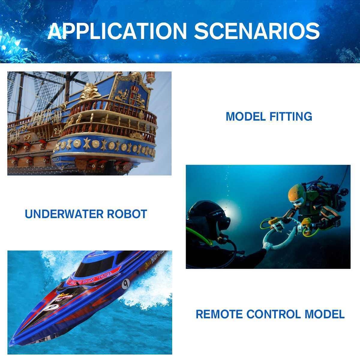 12V 24V 17A propulsor submarino Motor sin escobillas 4 hélice propulsión 100-300W piezas para ROV barco remolcador cebo RC