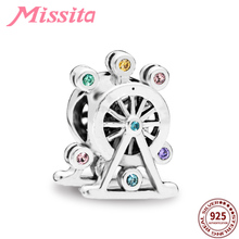 MISSITA 925 Sterling Silver Ferris Wheel Charms fit Brand Bracelets & Necklaces for Jewelry Making Ladies Accessories