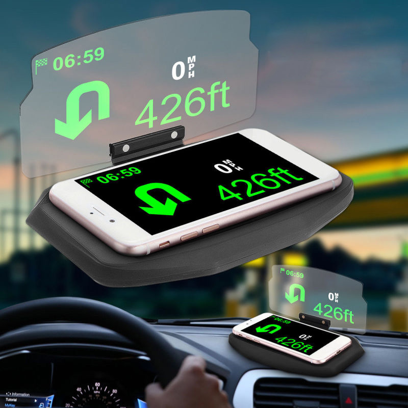 6inch Car HUD Screen Head-Up Display GPS Navigation Projector Phone Stand Holder Non-slip Interior Accessories