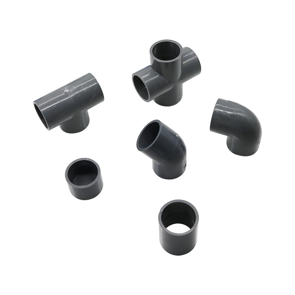 Grey PVC Pipe Connector Inner Diameter 20mm Pipe Connector Garden Water Pipe Joint Adapter Elbow Straight Cross Tee Couplings