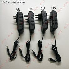 36W LED Transformers 12v 3a strip power adapter plug UK US EU AU Lamp bar driver ac/dc 100-240v to 12v