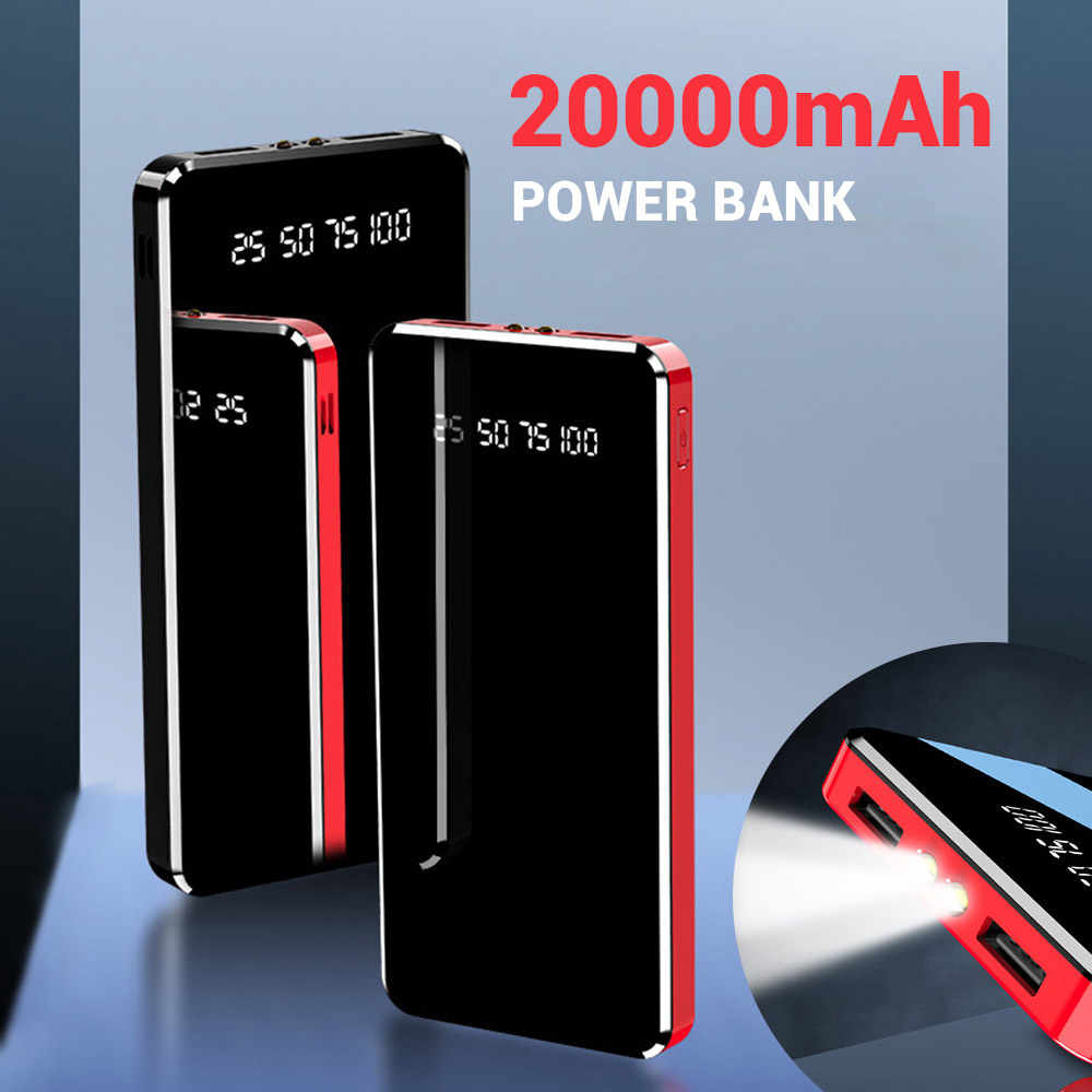Floveme Power Bank 20000 Mah Dual Usb Led Display Flitslicht 10000 Mah Powerbank Draagbare Externe Batterij Oplader Poverbank