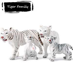 4pcs white tiger family toys realistic bleached tiger figurine collectible forest animal toy cake top decoration party gifts(China)