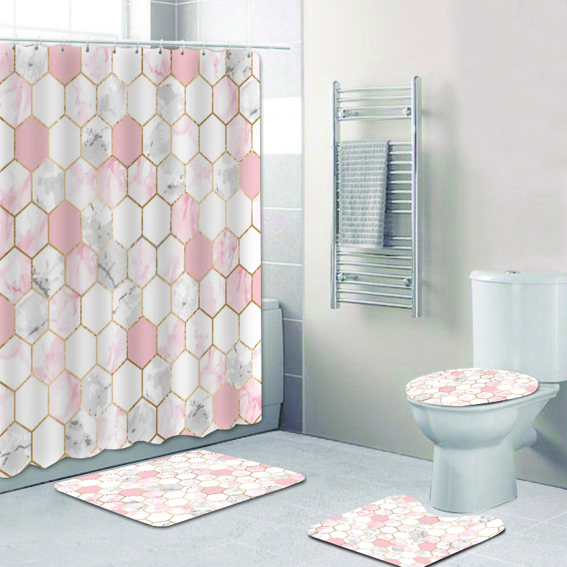 Gray Marble Shower Curtain Set