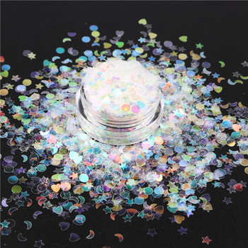 3D Nail Designs Mixed Holo Flakes Nails Glitter Paillette Moon Start Love Heart Dots Flakes Sequin Manicure Decoration Tips 1Jar image