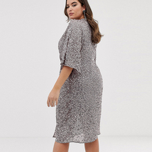 Fashion Women V-neck Large Size Sexy Front Twisted Sequined Trumpet Sleeves Dress