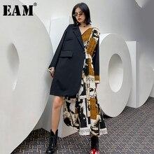 [EAM] Women Pattern Printed Black Irregular Big Size Dress New Lapel Long Sleeve Loose Fit Fashion Tide Spring Autumn2021 1Y424