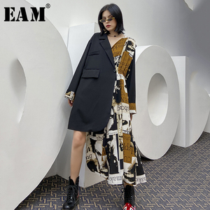 [EAM] Women Pattern Printed Black Irregular Big Size Dress New Lapel Long Sleeve Loose Fit Fashion Tide Spring Autumn2020 1Y424