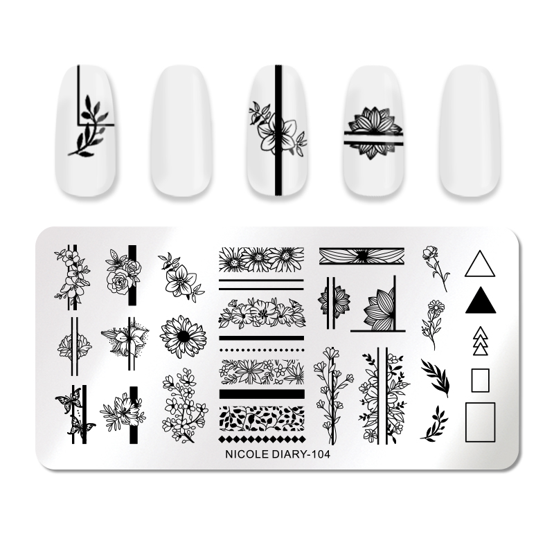 NICOLE DIARY Geometric Nail Stamping Plates Rectangle Flower Leaves Design Image Nail Art Stamp Stencils Manicure Templates