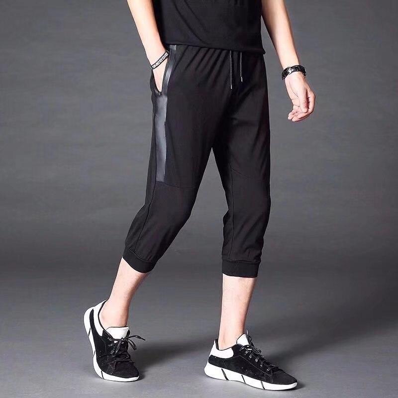 Sports Capri Pants Men's Summer New Style Skinny Korean-style Slim-Fit Pants Casual Shorts Men Beam Leg Closing Capris