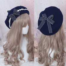 Beret Hat Lolita Japanese Cute Woolen Female Girl And Sweet 1pc Bow-Hat Daisy