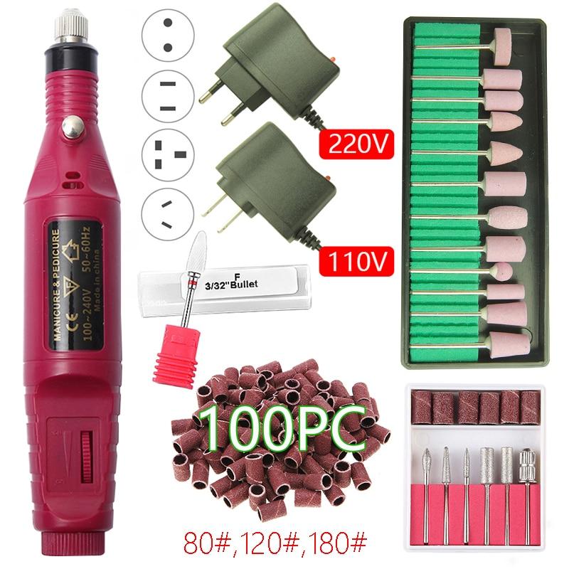 20000 RPM Electric Nail Drill Machine Manicure Drill Machine Ceramic Nail Drill Bit Manicure Pedicure Accessory Nail Art Tools