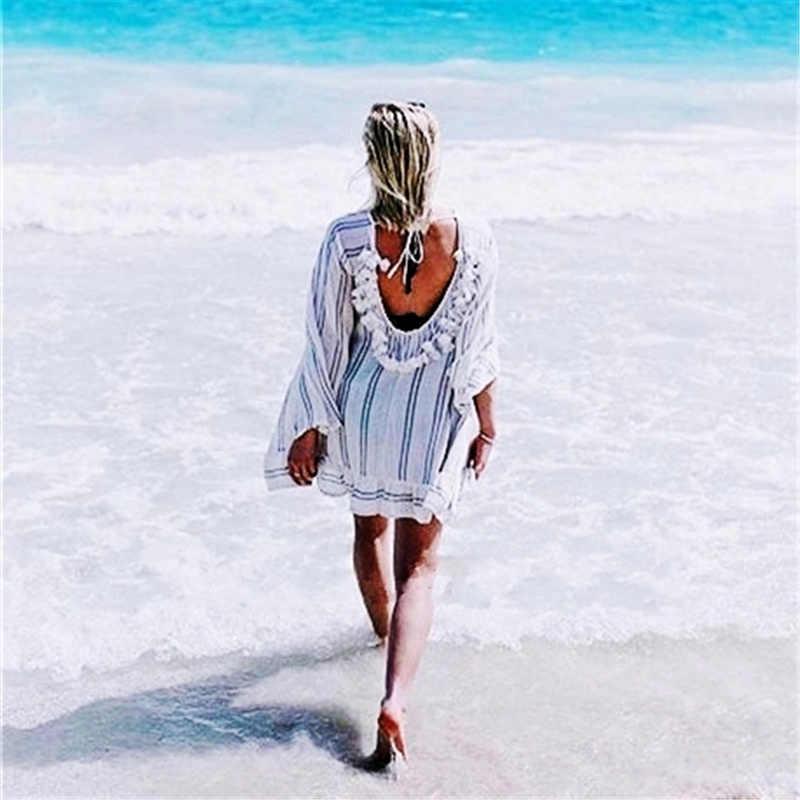 綿チュニックビーチ女性水着カバーアップ女性水着ストライプビーチウェアパレオビーチドレスサイダデプライア # Q474