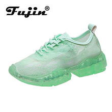 Fujin Lace Net Shoes 2019 Summer Transparent Jelly Bottom Thick Sponge Sneakers Cake Torre White Women Autumn