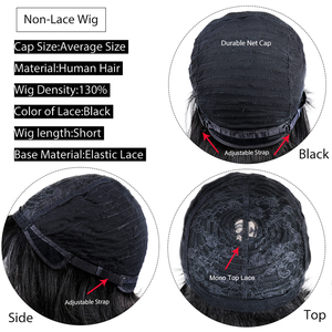 Image 5 - Pelucas de cabello humano brasileño con flequillo, pelo liso barato, corte Pixie, peluca con flequillo, 1 Bob corto, compra gratis