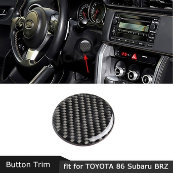 Carbon Fiber Steering Wheel Shaft Stalk Power Button Trim Cover Sticker For Toyota GT86 FT86 ZN6 Subaru BRZ 2013-2017 image