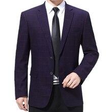 Suit Blazer Men Jacket Americana Plaid Business Long-Sleeve Formal Casual Luxury Autumn