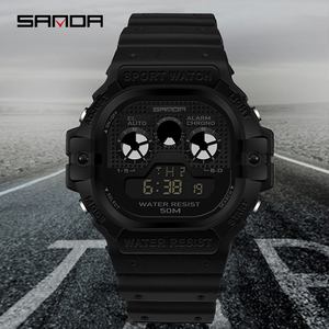 Image 1 - SANDA חדש רב תכליתי ספורט שעון גברים של שעון תלמיד עסקי LED הדיגיטלי עמיד למים כיכר אלקטרוני שעון Montre homme
