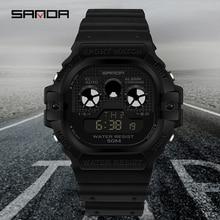 SANDA Multifunctional กีฬานาฬิกาผู้ชายดูธุรกิจ LED ดิจิตอลกันน้ำสแควร์นาฬิกา Montre homme