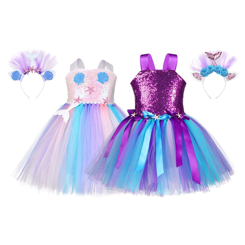 Pastel Sequins Girls Mermaid Tutu Dress Starfish Shell Under The Sea Princess Dress Costume Kids Halloween Birthday Party Dress