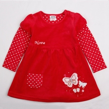 Girls long-sleeved dress cotton plush padded autumn new style for children and girls wearing embroidered dresses H2005