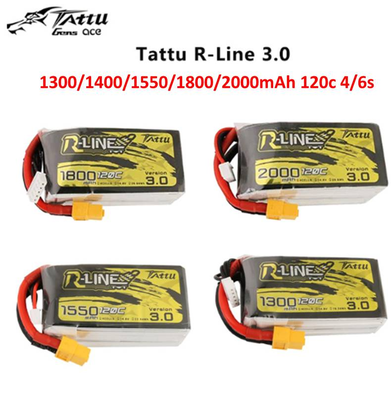 Tattu R-Line Version 3.0 V3 1300/1400/1550/1800/2000mAh 120C 4S 6S 4.2V Lipo Battery XT60 Plug FPV Racing Drone RC Quadcopter