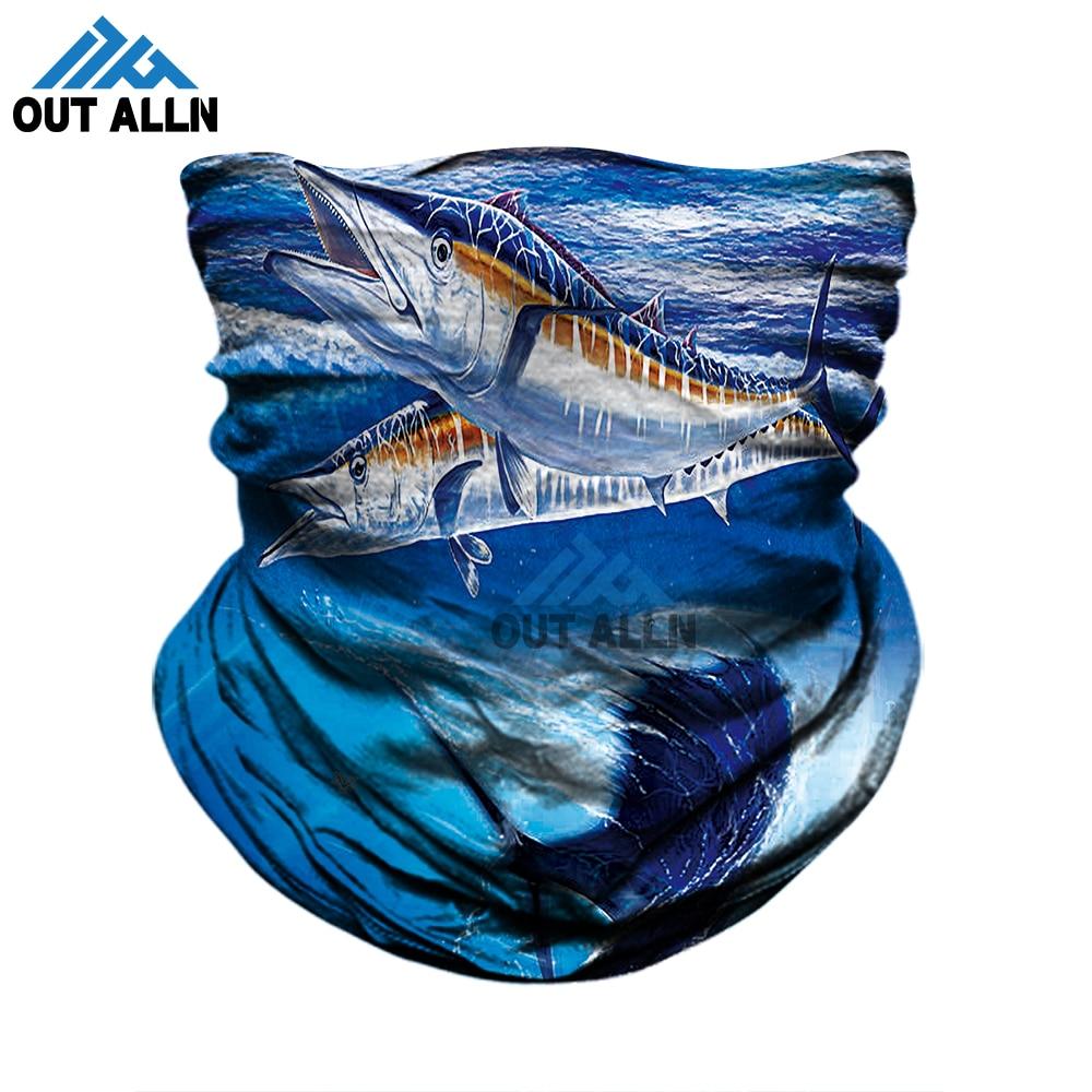 3D Fishing Masks Swordfish Tuna Bass Tube Bandana Outdoors Fisher Face Mask Shark Neck Warmer Sports Seamless Bandana Neck Scarf