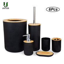 UNTIOR 6Pcs Bathroom Accessories Set Bamboo Bathroom Kit Toothbrush Holder Soap Dispenser Toilet Brush Trash Can Bathroom Set