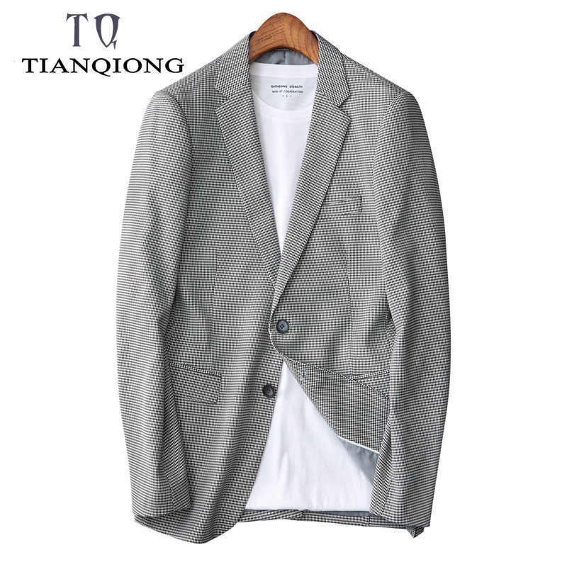 Весенние Костюмы 2020, Блейзер, мужские деловые повседневные клетчатые костюмы, мужское однобортное пальто, модная классическая Куртка, блейзеры, размер S-3XL