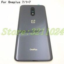 "100% Originele Glas 6.41 ""Voor Oneplus 7 1 + 7 Terug Batterij Cover Achterdeur Panel Behuizing Case + camera Lens Frame + Sticker"
