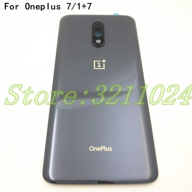"""100% orijinal cam 6.41 """"Oneplus 7 1 + 7 arka pil kapağı arka kapı paneli konut Case + kamera lensi çerçeve + yapıştırıcı Sticker"""