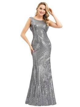 Sequined Evening Dresses Shiny Mermaid Women Party Dress R147 O-Neck Formal Banquet Gown Sleeveless Floor Length Elegant Vestido
