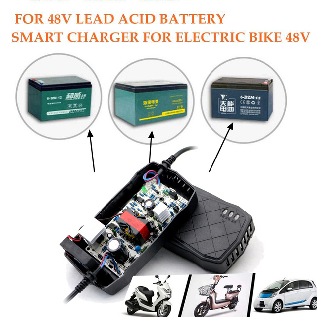 EU US 48V 50AH Intellgient Charger Battery Lead Acid Gel Agm Vrla Auto Electric Bike Scooter Charger Power Charging DC58.5V 6A