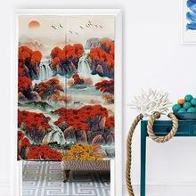 Китайская пейзажная чернильная картина льняная ткань подвесные