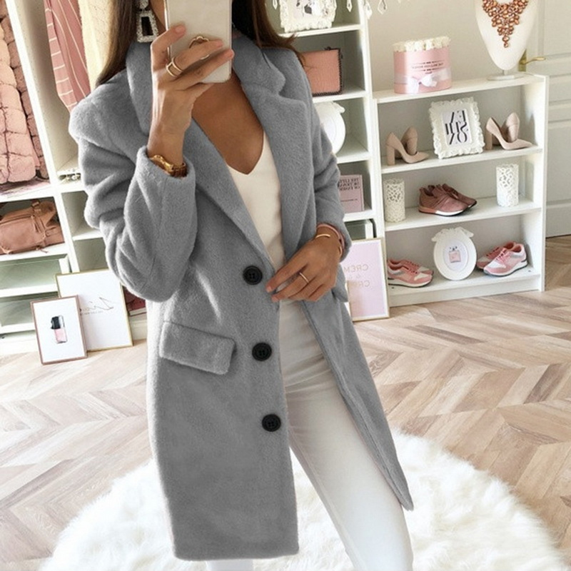 A Women Wool Coat Autumn Long Ladies Jackets Coat Plus Size 5XL Casual Solid Pink Blend Coat Female Outerwear Jackets