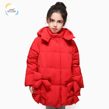 Bilemi spring snow warm puffer with fur hood winter down baby jacket(China)
