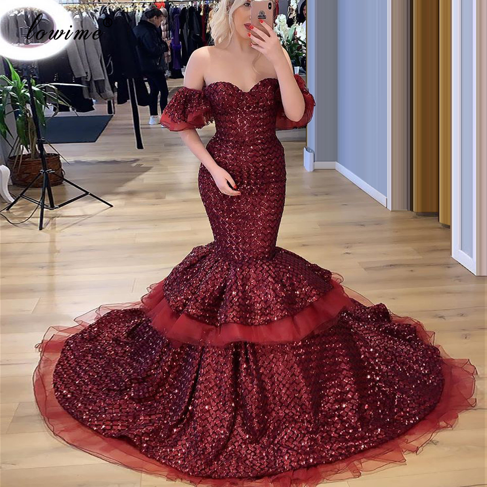 Long Mermaid Prom Dresses 2020 Glitter Dresses Woman Party Night Sexy платье вечернее Formal Burgundy  Evening Gowns Abiye