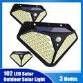 102/100 светодиодный солнечный светильник Открытый Солнечный лампа на солнечных батареях солнца светильник 3 режима движения PIR Сенсор для укр...