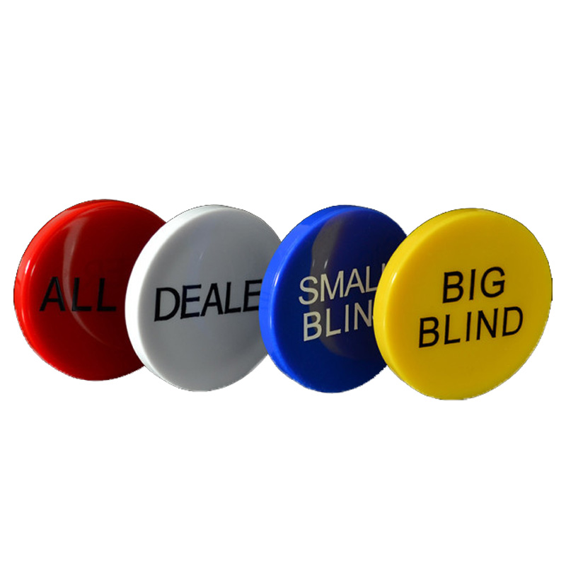 HOT SALE 4PCS/SET Melamine Round Plastic Dealer Coins SMALL BLIND BIG BLIND DEALER All IN Texas Poker Chip Set Coin Buttons Game