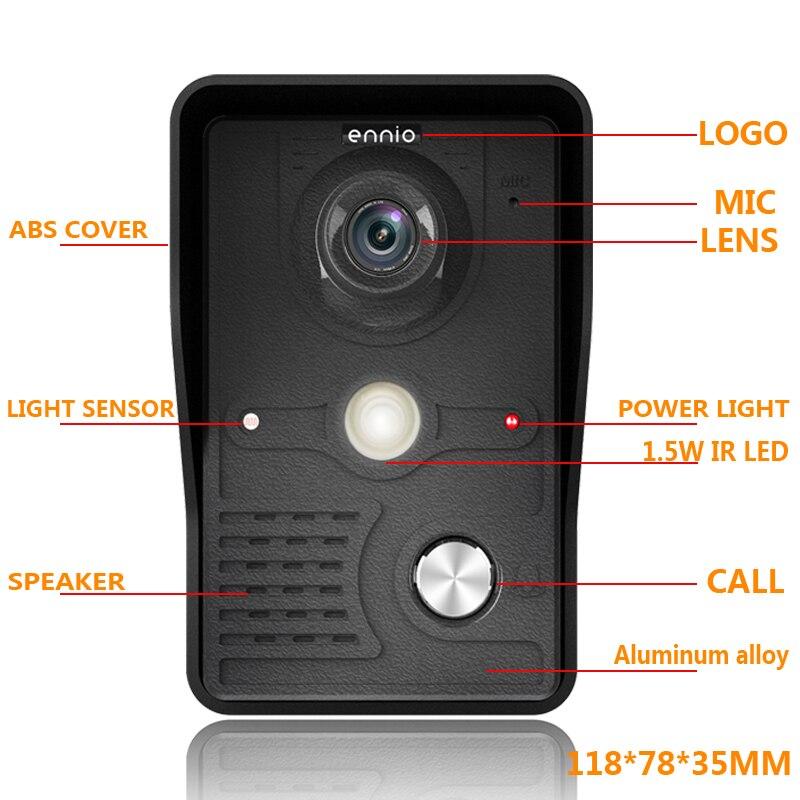 Video Deur Intercom 7''Inch 2pc LCD Bedraad Video Deurtelefoon Visual Video Intercom Deurbel Monitor Camera Kit Voor Thuis beveiliging - 4