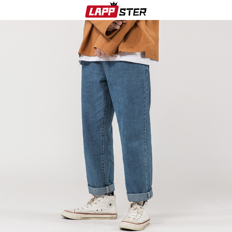 LAPPSTER Men Korean Fashions Blue Jeans 2020 Harem Pants Mens Japanese Streetwear Denim Baggy Wide Leg Loose Pants Plus Size 5XL