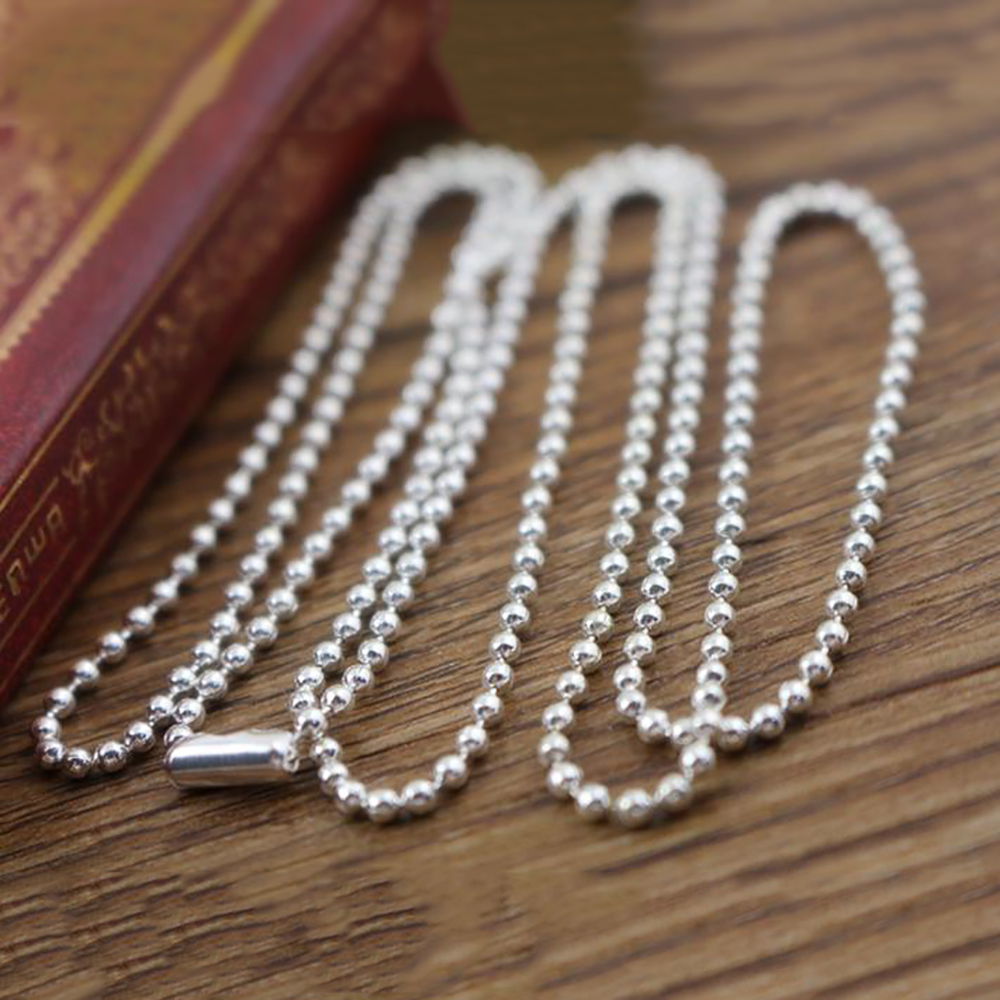 5pcs 2.4mm Silver Plated Ball Beads Chain Necklace Bead Connector 65cm(25.5 Inch)  (Z1-06)