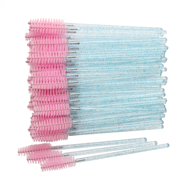 50 pcs Cosmetic Eyelash Brush  Crystal Mascara Wands Applicator Diamond Eyelashes brushes Disposable Make Up brushes Tools 1