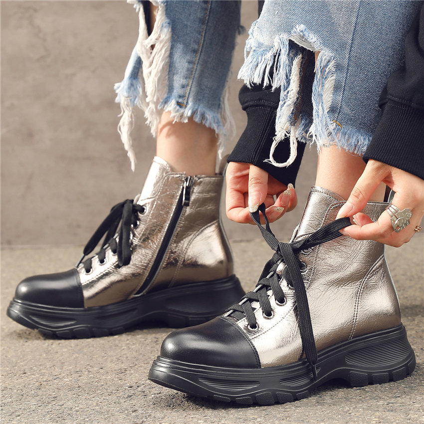 Vulcanized Shoes Women Tennis Shoes Metal texture Cow Leather Fashion Sneakers Round Toe Platform Trainers Lace Up Punk Oxfords